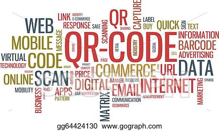 Vector Illustration - Qr code word cloud illustration  Stock