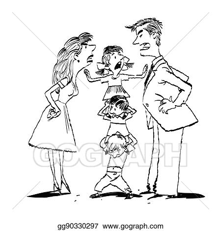 Quarrel In The Family Mom And Dad Fighting Kids Calm