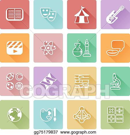 Vector Art Quiz Or Education Subject Icons Eps Clipart Gg75179837