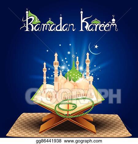 Vector Stock Quran On Eid Mubarak Background Stock Clip Art