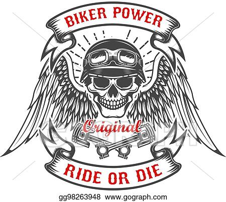 clip art vector racer skull with wings and two crossed pistons