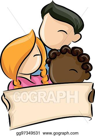 vector illustration racial diversity kids banner eps clipart rh gograph com
