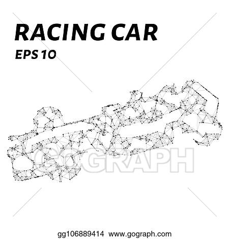 EPS Vector - Racing car consists of points, lines and