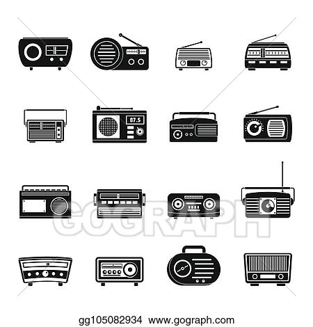 Stock Illustration - Radio music old device icons set, simple style