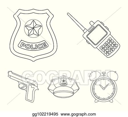 Vector Illustration - Radio, police officer's badge, uniform