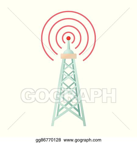 Vector Stock - Radio tower icon in cartoon style  Clipart