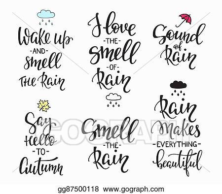 Vector Illustration - Rain autumn days quotes typography set ...