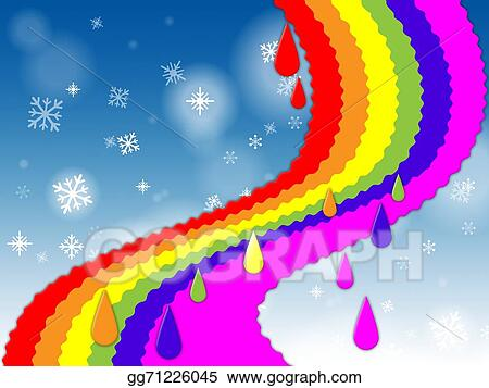 stock illustration rainbow background shows blue sky and snowing