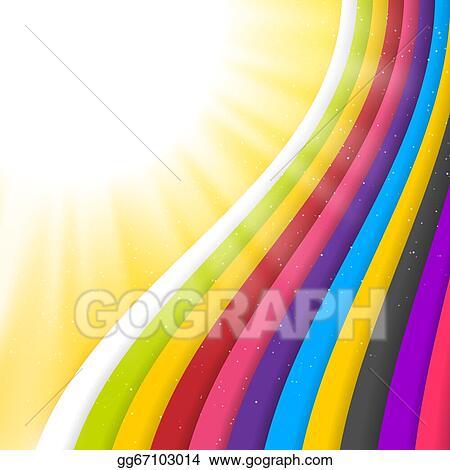 Vector Stock Rainbow Colored Stripes Shiny Vector