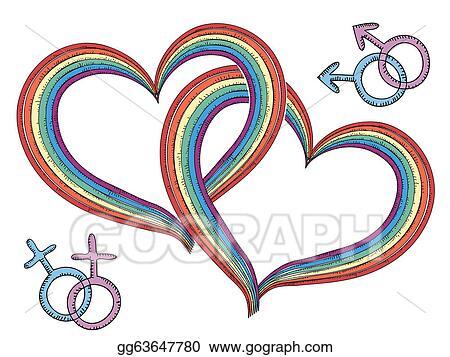 Vector Clipart Rainbow Hearts With Gay Symbolsctor Isolated On