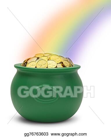 Stock Illustration Rainbow Pot Of Gold Clipart Illustrations