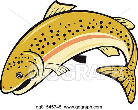 vector illustration rainbow trout jumping cartoon isolated eps rh gograph com trout silhouette clip art trout clip art images
