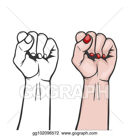 Clip Art Vector - Raised women s fist isolated - symbol