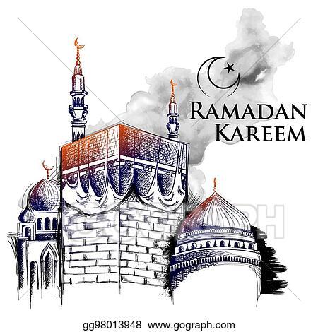 Vector art ramadan kareem generous ramadan greetings for islam ramadan kareem generous ramadan greetings for islam religious festival eid with freehand sketch mecca building m4hsunfo