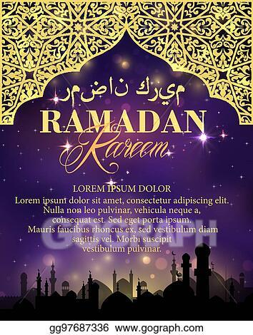 Clip art vector ramadan kareem golden greeting card stock eps ramadan kareem golden greeting card m4hsunfo