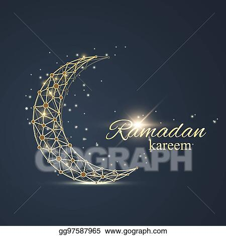 Vector art ramadan kareem text greetings background golden moon ramadan kareem text greetings background golden moon made from connected line and dots background with golden mandala decoration eid mubarak m4hsunfo