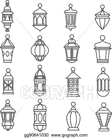 Ramadan Vintage Lantern Linear Icons Vector Muslim Antique Lamp Symbols