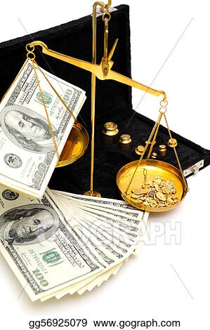 Pictures - Raw gold and money  Stock Photo gg56925079 - GoGraph