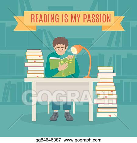 Vector Illustration Read Books Vector Concept Eps Clipart