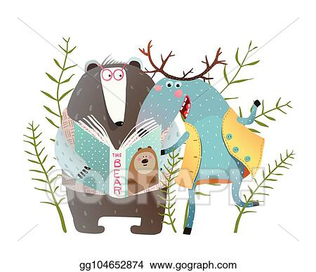 vector stock reading book moose and bear clipart illustration