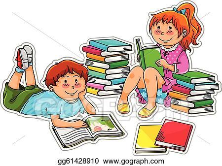 Kids Reading Books Clip Art Royalty Free Gograph