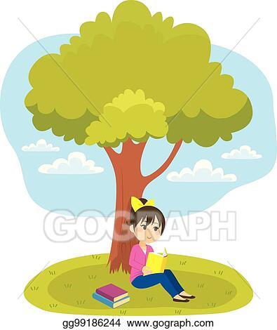 Vector Stock Reading Under Tree Clipart Illustration Gg99186244