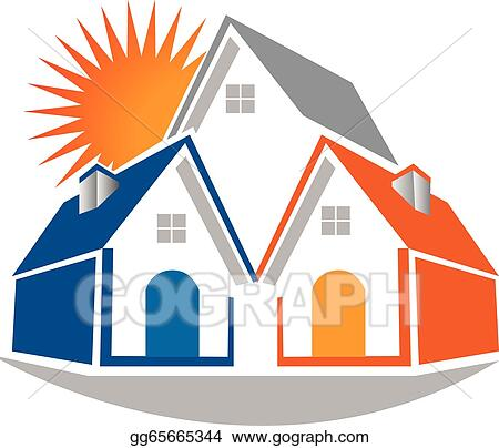 real estate houses clipart. vector stock real estate houses and sun logo icon illustration clip art gg65665344 clipart