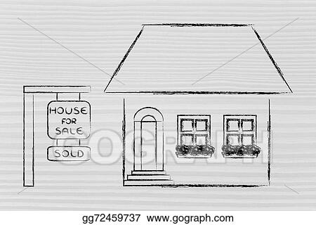 Stock Illustration - Real estate market, funny house sold