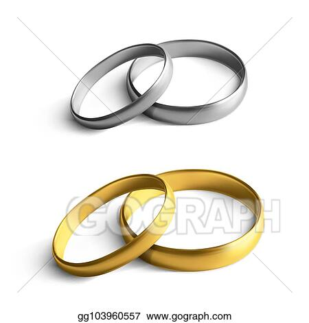 Vector Art Realistic Gold And Silver Wedding Rings Isolated On