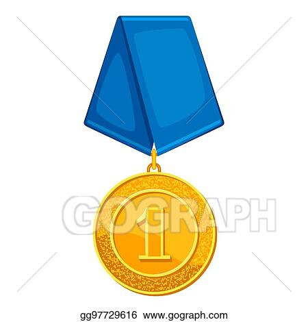 Vector Art - Realistic gold medal with blue ribbon