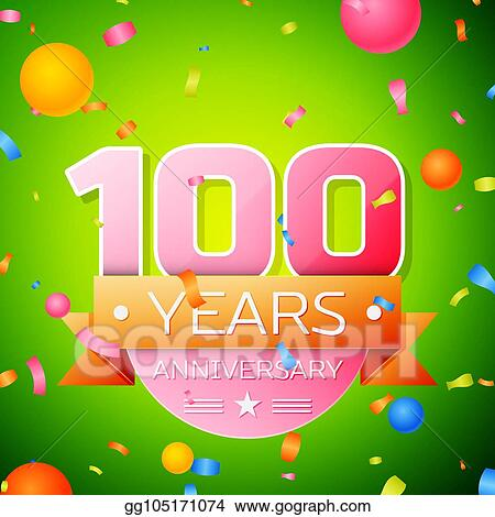 Realistic Hundred Years Anniversary Celebration Design. Pink numbers and golden ribbon, confetti on green background. Colorful Vector template elements for your birthday party