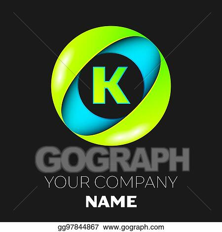 Realistic Letter K Vector Logo Symbol In The Colorful Circle On Black Background Template For Your Design