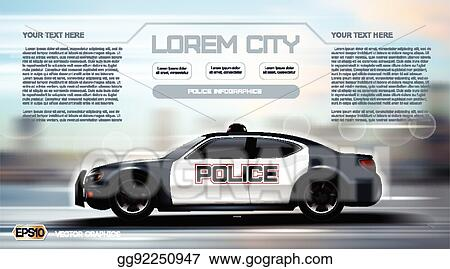Vector Art - Realistic police car infographic  urban city background
