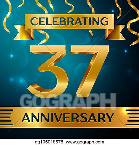 realistic thirty seven years anniversary celebration design golden confetti and gold ribbon on blue background colorful vector template elements for your