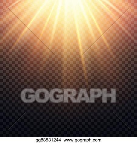 Realistic Transparent Yellow Sun Rays Warm Orange Flare Effect Isolated On Checkered Background