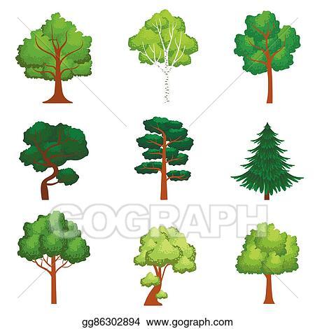 Vector Art Realistic Trees Set Eps Clipart Gg86302894 Gograph