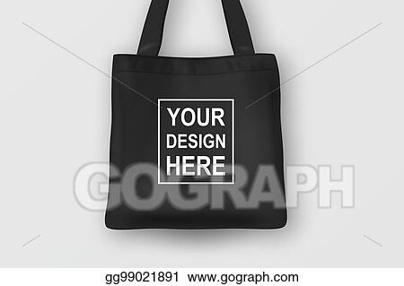 Realistic Vector Black Empty Textile Tote Bag Closeup Isolated On White Background Design Template For Branding Mockup Eps10