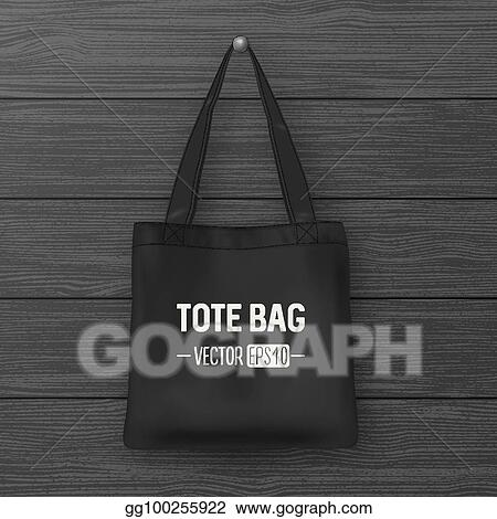 Eps illustration realistic vector black empty textile tote bag realistic vector black empty textile tote bag closeup on wood background design template for branding mockup eps10 maxwellsz