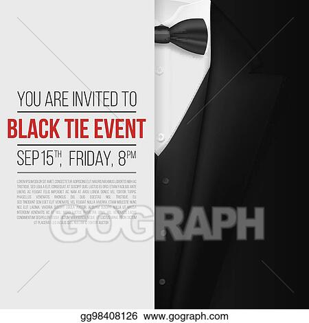 Eps illustration realistic vector black suit black tie event realistic vector black suit black tie event invitation template vector mens suit with bow tie stopboris Images