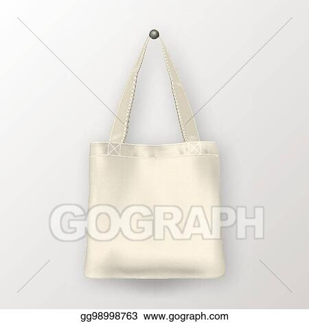 Realistic Vector White Empty Textile Tote Bag Closeup Isolated On Background Design Template For Branding Mockup Eps10