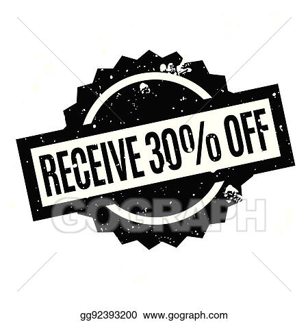 136fa4654 Vector Illustration - Receive 30 off rubber stamp. Stock Clip Art ...