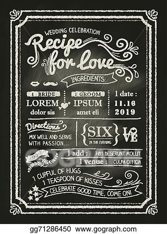 Vector Illustration Recipe For Love Chalkboard Wedding Invitation