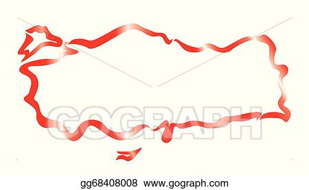 Vector Clipart - Red abstract outline of turkey map. Vector ...