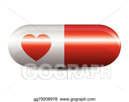 eps vector red and white capsule stock clipart illustration