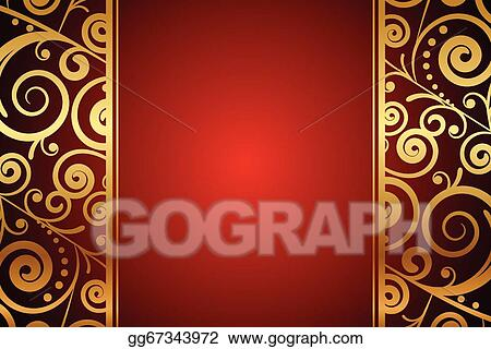 Vector illustration red background with gold ornaments eps