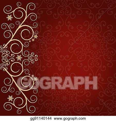 Stock Illustration Red Background With Golden Lace Floral