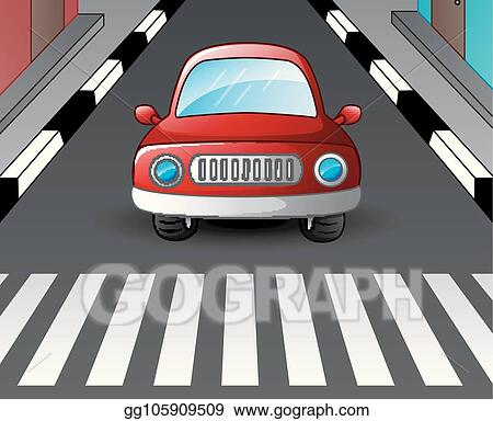 Vector Art Red Car Stopped At The Zebra Crossing Clipart Drawing