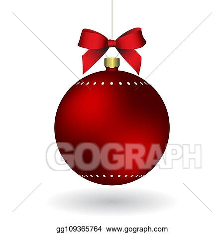 Christmas Chain Clipart.Eps Illustration Red Christmass Ball With Ribbon Hanging
