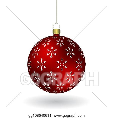 Christmas Chain Clipart.Vector Illustration Red Christmass Ball With Snowflakes