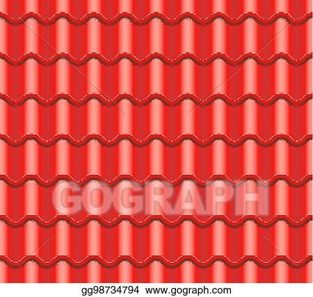 Vector Illustration - Red corrugated tile vector. element of roof ...